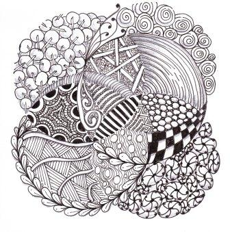 'Circles' - Micron pen on paper Zentangles