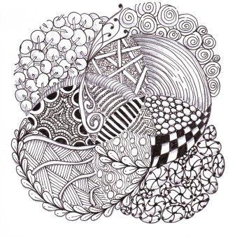 'Circles' - Micron pen on paper Zentangles