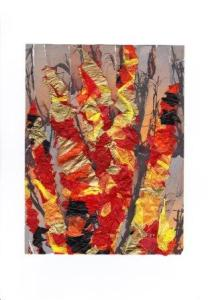 'Bonfire' - Tissue papers, collaged and stitched