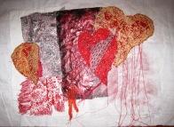 'Heart' - Mono prints, collage and stitch