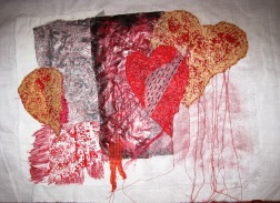 'Heart' - Mono prints, collage and stitch