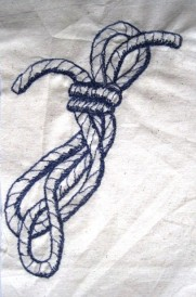 'Tied Cord' - Drawn on calico, then free motion stitching