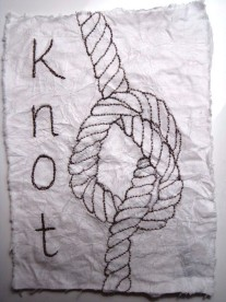 'Knot' - free motion stitching on tissue paper backed with cotton fabric