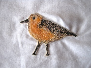 'Red Knot' (front) - Part needle felted with free motion embroidery