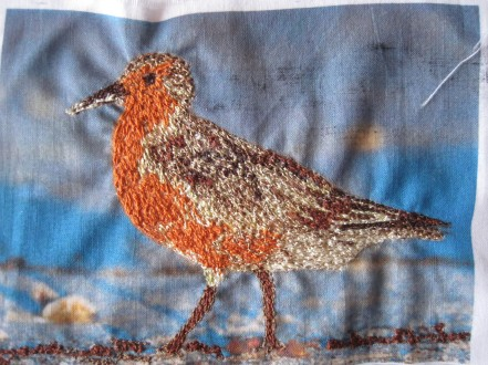 'Red Knot' - Free motion embroidery, mixed threads (cotton and rayon)