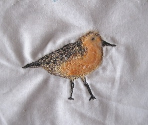 'Red Knot' (back) - Part needle felted with free motion embroidery