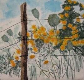 'Along the Fence' Free machine embroidery on painted linen background