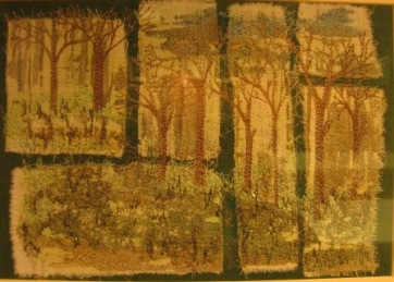 'Woodland' Free machine embroidery collage