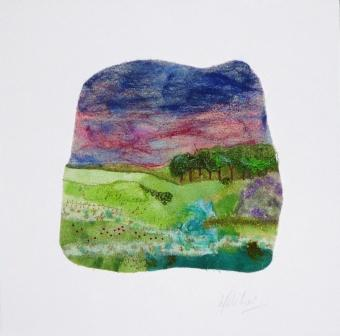 'Red Sky' - Needle felt with hand stitching